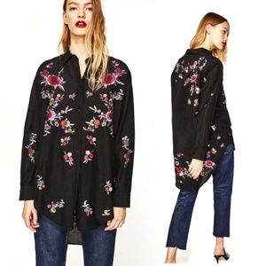 Zara Embroidered Floral Silk Shirt Button down L